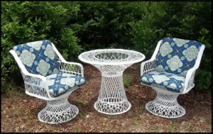 Fiberglass Outdoor Wicker Furniture Captain Chairs Low Backs W/5&qout; Thick Cushions