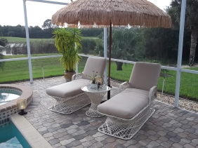 Fiberglass Outdoor Wicker Furniture Adjustable Chaise Lounge