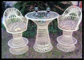 Fiberglass Outdoor Wicker Furniture Swivel Bar stools with arms