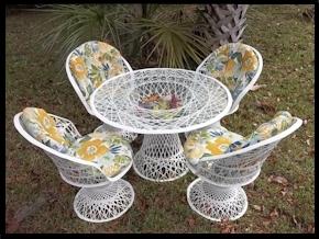 Fiberglass Outdoor Wicker Furniture Round Back Chair Set